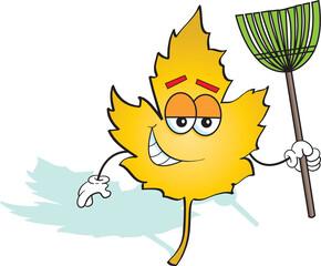 Cartoon illustration of a happy leaf holding a rake.