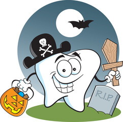 Cartoon illustration of a tooth dressed as a pirate in a graveyard.