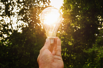 concept  hand hold light bulb solar energy in nature