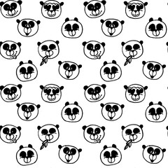 Drawn panda face colorful background. Seamless cartoon wallpaper. Doodled childish seamless texture.