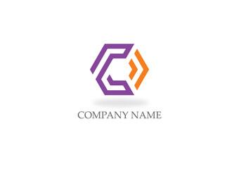 polygon line letter c color logo