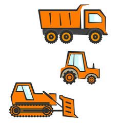 Flat orange with black outline industrial transport set. Dozer, tractor and dumper