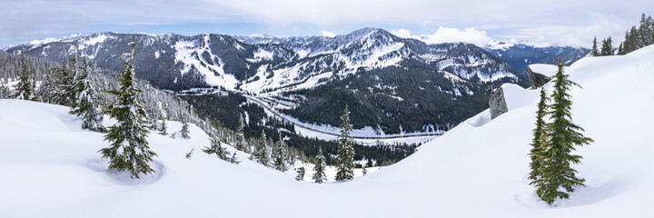 Panoramic Mountain Top View of Popular Washington Ski and Snowboard Resort in Pacific Northwest