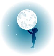 illustrazione di bambino che gioca con la luna