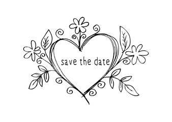 Save the date card. Hand drawn weddings elements.