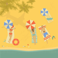 Tropical beach vector illustration. Summer seascape. People sunbathing on the beach.