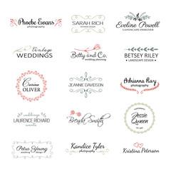 Vintage logo templates. Premade logotypes. Branding identity elements