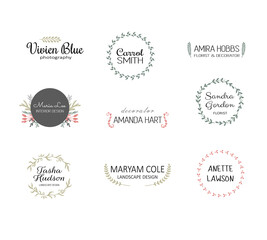 Handdrawn logo templates. Premade logotypes. Floral logos for small business
