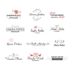 Handdrawn vintage elements for branding design. Graphics and typography. Decorative elements: leaves, flowers, flourishes