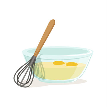 Raw eggs in a glass bowl and whisk for whipping vector Illustration