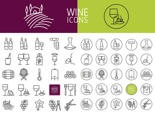 Set of wine icons for web and designs