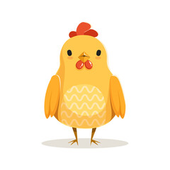 Cute cartoon chicken standing colorful character vector Illustration