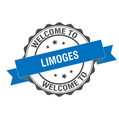 Welcome to Limoges stamp illustration