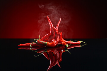Fotobehang Hot chili peppers Beams of red chilli pepper