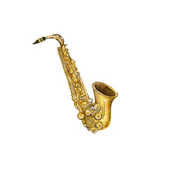 watercolor drawing saxophone