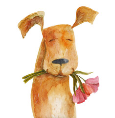 Red dog with flowers. Watercolor illustration. Hand drawing