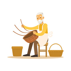 Senior man weaving baskets, craft hobby or profession colorful character vector Illustration