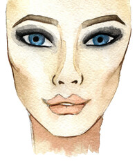 watercolor sketch of woman face. Fashion illustration. Isolated on white background