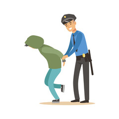 Police officer arresting criminal, character vector Illustration