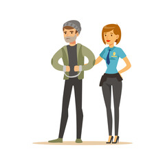 Police women officer arresting thief, character vector Illustration