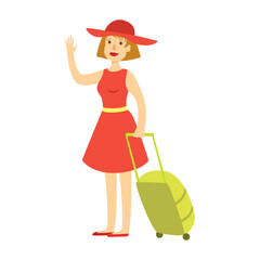 Happy tourist woman in red dress and hat with a green suitcase. Colorful cartoon character