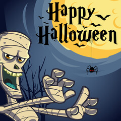 Halloween vector design with Happy Halloween lettering