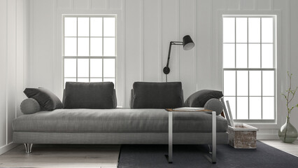 Wide couch in minimalist design living room