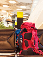 Backpack is at the airport Travel concept. Backpacker style.