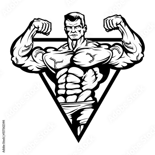 Gym Logo Bodybuilder With The Muscular Body Sexy Man With