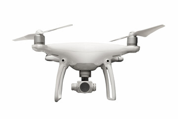Drone with camera on white background. with clipping path