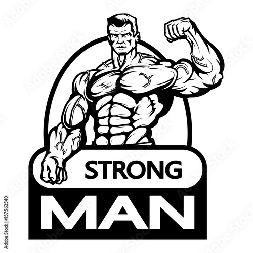 """Gym logo.Bodybuilder with the muscular body.Sexy man with"