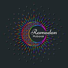 Rainbow Greeting Card for celebration of Holy Month Ramadan Kareem