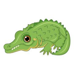 Cute cartoon crocodile. Isolated on white background.