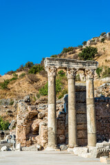 Columns at Ephesus ancient city, Izmir province, Turkey
