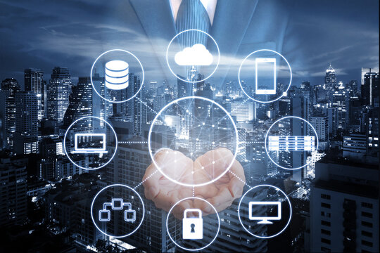 Professional businessman hold security network and technologies connecting with all devices