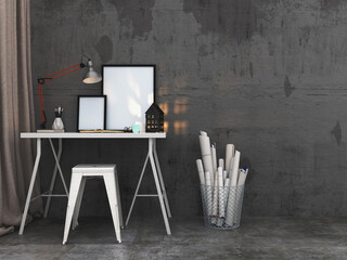 Simple writing table with blank picture frames