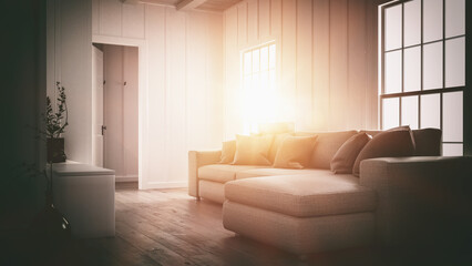 Bright glow of the setting sun in a home interior