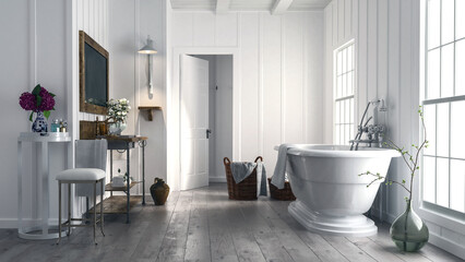 Trendy rustic bathroom with stylish bathtub
