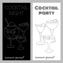 Two black and white brochures for cocktail parties. In a sketch style. Stylish template for your design