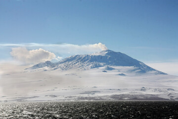 Mount Erebus in evening light, Ross Island, Antarctica