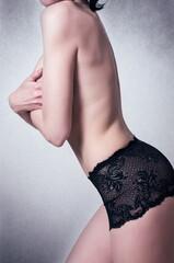 Half nude fashion woman