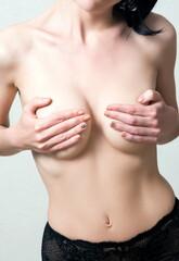 Woman breast closeup