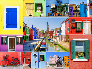 Collage from the island of Burano in Venice