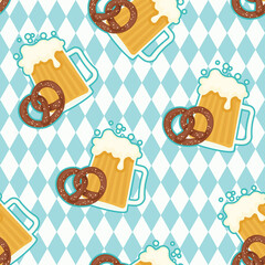 Beer and pretzels seamless pattern