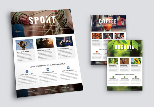 Fitness and Nutrition Flyer Layout Set 2