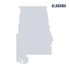 Vector pixel map State of Alabama isolated on white background