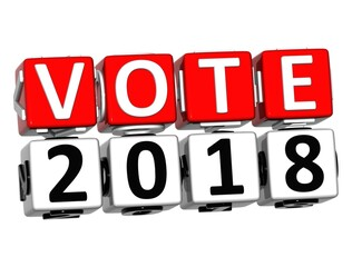 3D Block Red Text VOTE 2018 over white background.