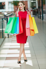 Beautiful girl with with shopping bags