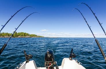 Trolling fishing in Swedish lake