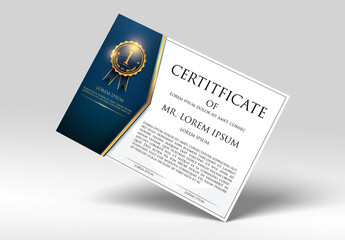 Certificate Layout with Dark Blue and Gold Accents 1